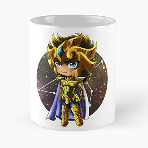 Desconocido Saint Shueisha Anime Seiya Leo Manga Zodiac Aiolia Knights The of Chibi Gold Best Mug Holds Hand 11oz Made from White Marble Ceramic