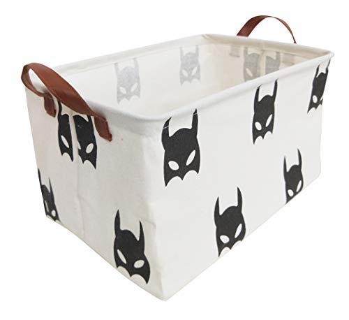 HIYAGON Rectangular Laundry Baskets,Fabric Storage Bin Storage Boxes,Collapsible Storage Basket for Toy, Clothes,Books.Shelves Basket(Black bats)