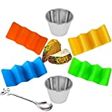 Taco Holders,Taco Holder Stand Taco Rack and Taco Plates Set of 4 With 2 Salad Cups 1 Novelty Spoons,Taco Tray Dishwasher Safe