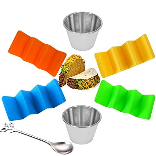 Taco HoldersTaco PlatesTaco Rack and Taco Holder Stand Set of 4 With 2 Salad CupsTaco TrayTaco Gifts for WifeMomGirlfriendCooking Lover