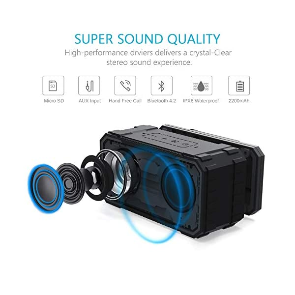 Portable Bluetooth Speaker, IPX6 Waterproof Wireless Speaker with 10W HD Stereo Sound, Rich Bass, 10H Playtime, Built-in Mic and AUX/SD Input for Shower, Pool, Outdoor, Travel 4