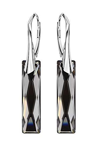 Swarovski Elements *QUEEN BAGUETTE* 25mm *Silver Night* Schön Ohrringe Damen Ohrhänger mit Kristallen von Swarovski Elements - Wunderbare Ohrringe mit Elegant Schmuscketui