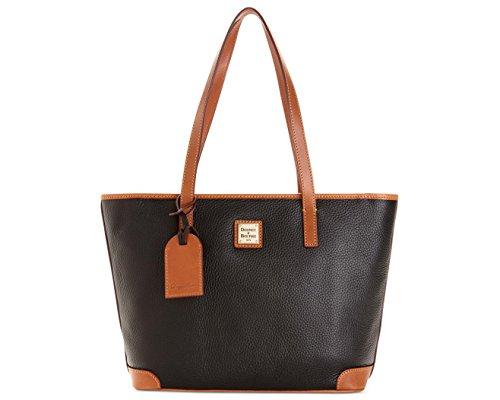 "Made of pebbled leather Top zip closure Inside 1 zip pocket and 3 slip pockets 13""L x 10""H x 4""D, Shoulder strap drop 9"""