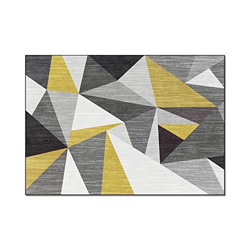 Karpetten voor woonkamer Modern Scandinavisch minimalistisch 3D geometrische driehoek geel grijs zacht tapijt Geschikt als slaapkamer Home Decor kinderkamer tapijten,45x75cm(18x30inch)