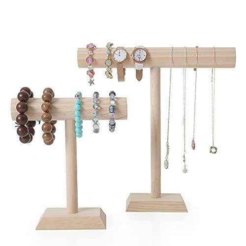 GDLKY - Expositor de joyas, organizador de joyas, collar, pulsera, soporte de madera en forma de T, collar expositor de visualización (ancho)
