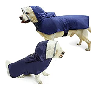 PETSYARDS Pet Raincoat Packable Hooded Dog Rain Jacket Reflective Strips Lightweight Adjustable Poncho for Small Medium Large Dogs
