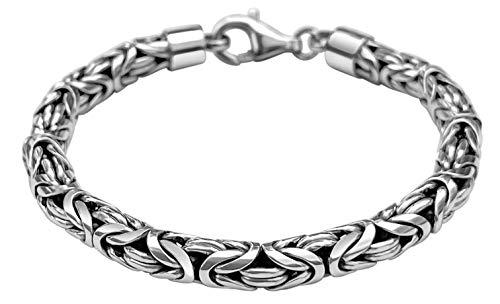 Avesano Königskette Armband für Herren aus massiven 925 Sterling Silber, Herren Armband Silber 925, Handgefertigtes Königsarmband für Herren, Länge 21 cm, 6mm breit, 38g schwer 102094-021