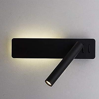 Lámpara de lavabo de noche flexible con 2 interruptores de botón: luz de lectura / foco de pared de 3 W y luz de pared / luz de fondo de 8 W, 2 botones separados para controlar los faros y la luz de fondo. Fuente de iluminación LED dual: puede contro...