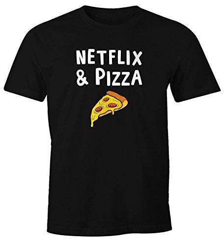 MoonWorks Herren T-Shirt Netflix & Pizza Serienjunkie Fun-Shirt Spruch-Shirt schwarz L