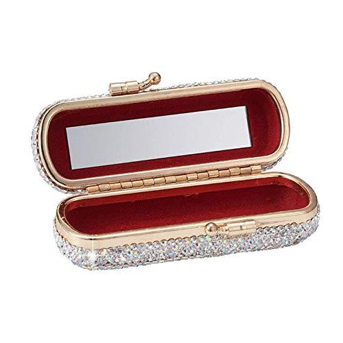 POHOVE Lippenstift-Etui mit Strasssteinen, für Damen, mit Spiegel, glänzend, Vintage-Clip-Halter