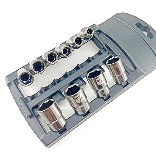 10 PCS 3/8 pulgadas de unidad CRV y zócalos de níquel SAE negro con estante de plástico antirrobo