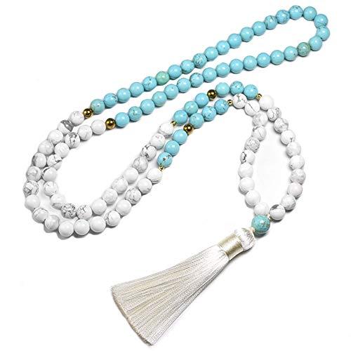 ZHONGGOZZ Cuentas de piedra howlita blanca natural de 8 mm y pulsera azul turquesa para mujeres y hombres, conjuntos de collar de meditación 108 cuentas mala, joyería (color metálico: collar)