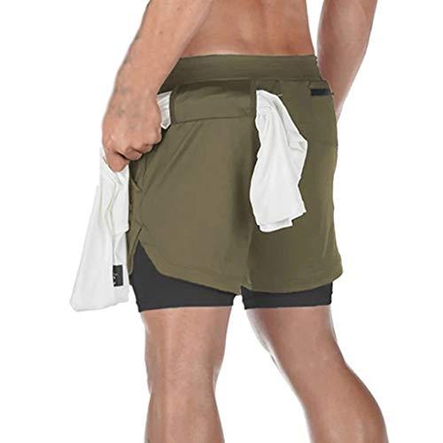 ZAYZ Pantalones Cortos para Correr 2 En 1 para Hombre, Secado Rápido Suave Pantalones Ajustados de Compresión para Hacer Ejercicio Gimnasio Yoga Capacitación (Color : Green, Size : L)
