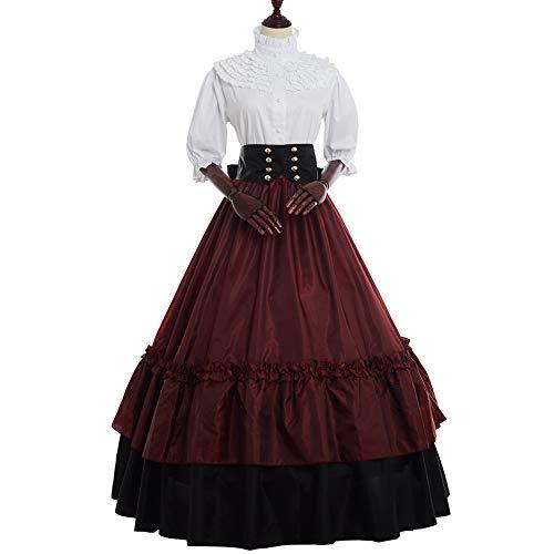 GRACEART Damen Renaissance Mittelalter Kleid Viktorianischen Königin Party Kostüm (L, Weinrot)