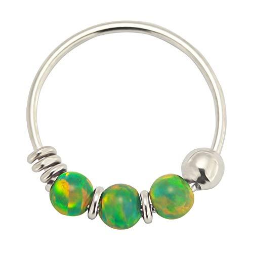 9K Weißgold dreifach grün Opal Bead 22 Gauge Hoop Nase Piercing Ring Schmuck