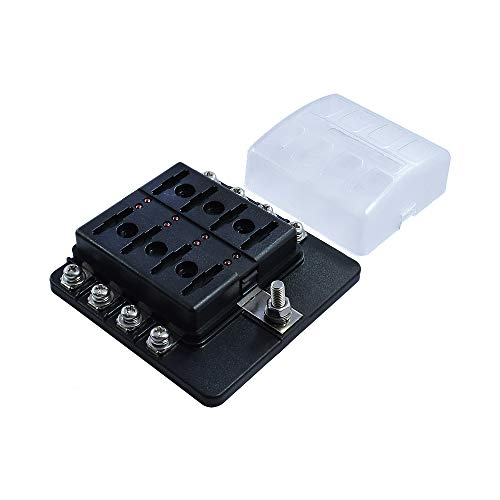 8 Way Blade Fuse Box with Ground Negative Bus bar for Automotive ATC/ATO Blade Fuses LED Protection Cover [12V - 30V DC] Auto Marine Ground Fuse Block