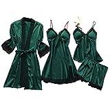 Deloito 4 Stück Dessous Set Damen Kunstseide Spitze Negligee Robe Nachtkleid Babydoll Nachtwäsche Nachthemd Pyjamas Schlafanzug Reizwäsche Vierteiliger Anzug (Armee-Grün,Small)