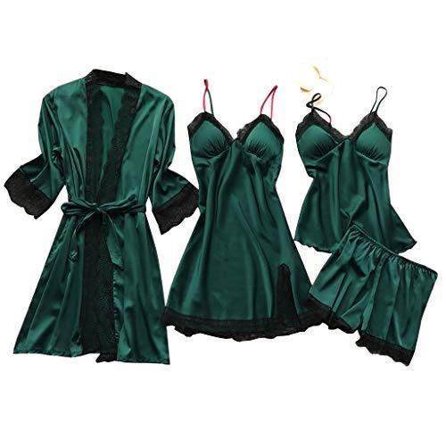 Deloito 4 Stück Dessous Set Damen Kunstseide Spitze Negligee Robe Nachtkleid Babydoll Nachtwäsche Nachthemd Pyjamas Schlafanzug Reizwäsche Vierteiliger Anzug (Armee-Grün,Medium)