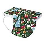 Donasty 10 Stück Weihnachtsmaske Mundschutz Kinder Einweg 3-lagig mit Weihnachtsmotiv Bunt Mund und Nasenschutz Weihnachten Print MNS Mund-Tuch Bandana Halstuch Schals für Junge Mädchen