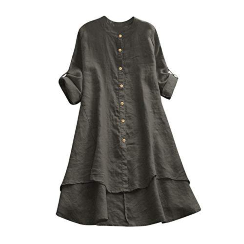 Kolila Leinen Shirts Oberteile Damen Lose Plus Size Langarmshirts Frauen Lässige Dünn Einfarbig Knopf Tunika T-Shirts Bluse