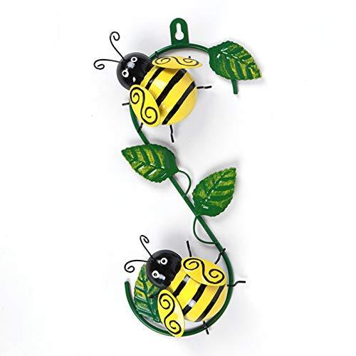 kristy Wanddeko Metall Biene mit Grünem Blatt, 3D Biene Kunst Wand Deko für Innen und Outdoor Hängt