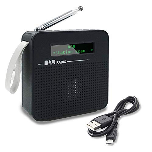 Maxesla DAB-Radio mit Bluetooth, Kleines DAB/DAB+ FM Digitalradio LCD Display Tragbares Radio mit wiederaufladbarem Akku, DAB-Radiowecker, Presetstation und Auto-Suchung für Sender, Schwarz