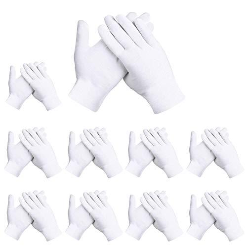 Rovtop 10 Paar Weiße Handschuhe, Größe XL, Stoff Handschuhe Weiss, Care Handschuhe, Bequem und Atmungsaktiv, für Hautpflege, Schmuck Untersuchen, Tägliche Arbeit usw