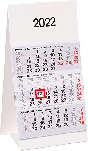 ADINA Kleiner Aufstellkalender Dreimonatskalender für den Schreibtisch 1 Stück