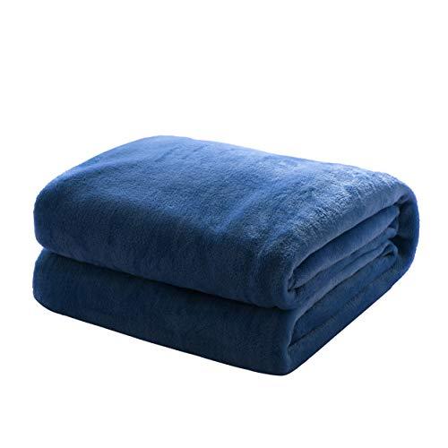 Mixibaby Kuscheldecke Flauschige extra weich und warm Wohndecke Flanell Fleecedecke, Falten widerstandsfähig/Anti-verfärben als Sofadecke oder Bettüberwurf, Größe:150 cm x 200 cm, Farbe:Dunkelblau