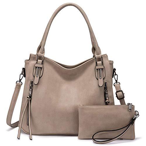 Realer Bolso de mano para mujer, grande, de piel, bolso de hombro, bolso de hombro, monedero, bolso de mujer, juego de 2 unidades, caqui