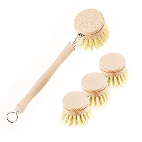 YYCFB Cepillo de protección contra el desgaste para fregadero de cocina, estilo retro, de madera, con cabezal intercambiable