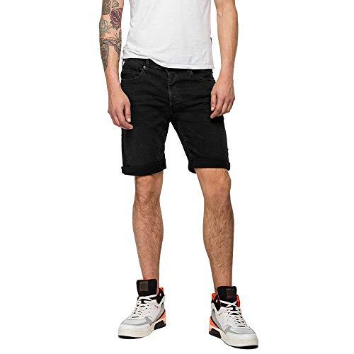 REPLAY RBJ.901 Short Pantalones Cortos, Negro (Black Delavè 998), 32 para Hombre