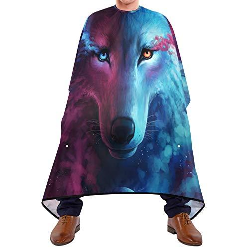 BGIFT Capa de peluquería galaxia animal lobo corte pelo bata barba babero tela recortadora delantal con ventosas accesorios de peluquería