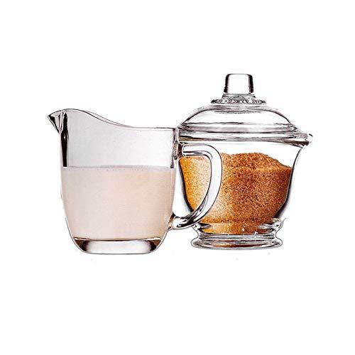 XuYuanjiaShop Salsera Azcar de Vidrio y Conjunto de caf de Cristal Kit de azcar de Vidrio Transparente con Tapa de Lanza lctea 170ml / 5.7oz Crema Jarra con asa para hoteles Familiares