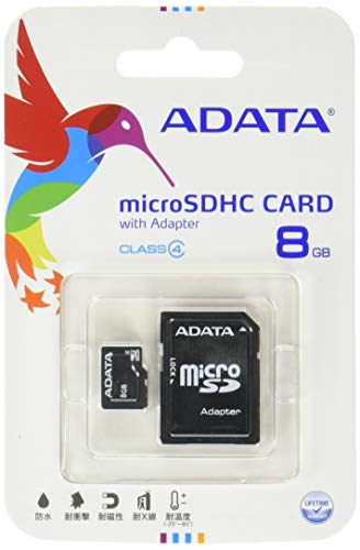 ADATA 8GB microSDHC Class 4 Memory Card with Adapter (AUSDH8GCL4-RA1)