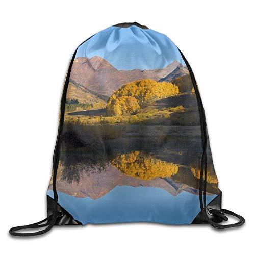 uykjuykj Bolsos De Gimnasio,Mochilas,Blue Oriental Chinese Dragon Basic Drawstring Backpack Workout Sackpack For Men Women School Travel Bag Colorado River Reflection Lightweight Unique 17x14 IN