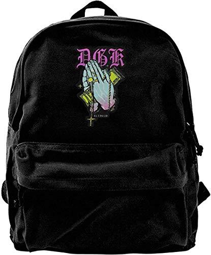 huatongxin Canvas Mochila DGK Blessed Graphic Rucksack Gym Hiking Laptop Shoulder Bag Daypack for Men Women