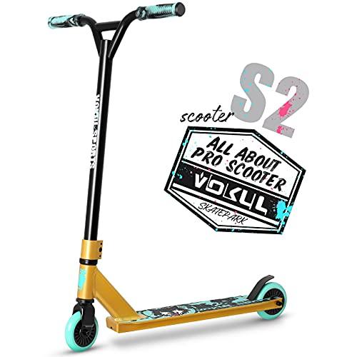 VOKUL Patinete TRII S2 Pro Stunt Scooter – Freestyle Tricks – Patinete con ruedas de 100 mm – con manillar de Chromoly giratorio 360 grados para niños y adultos (dorado y azul)