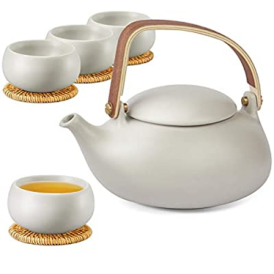 ZENS Ceramic Teapot Set, Matte Grey Japanese Tea Set with Infuser for Loose Tea, 27 Ounce Modern Porcelain Tea Pot with 4 Teacups & Rattan Coasters for Women Gift