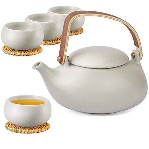 ZENS Teekanne Porzellan Set,Teeservice Japanische mit Siebeinsatz für Losen Tee, 800ml Matt Keramik Chinesisch Teekanne mit 4 Tasse 130ml mit Bugholz Griff & Rattan-Untersetzer, Grau