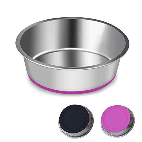 SUOXU Hundenapf, Dicke Edelstahl Futternapf für Katzen und Hunde, Napf für mit Rutschfestem Silikonboden, für große und Mittlere Hundefutterschale und Wasserschalen(L-20 cm)