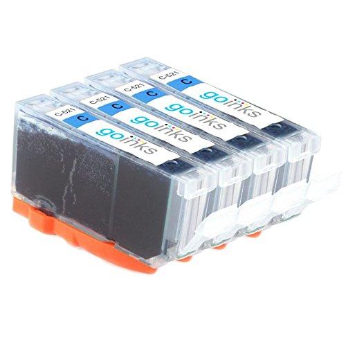 Go Inks C-521C vervangende inktpatronen - compatibel met PIXMA printer (4 inkt), cyaan
