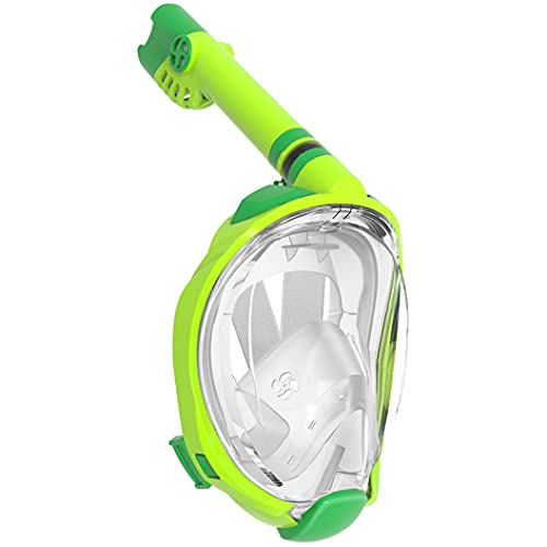 WSTOO Kids Snorkel Mask with Latest Dry Top Breathing System,Fold 180 Degree Panoramic View Full Face Snorkel Mask Anti-Fog Anti-Leak with Camera Mount,Snorkeling Gear for Kids