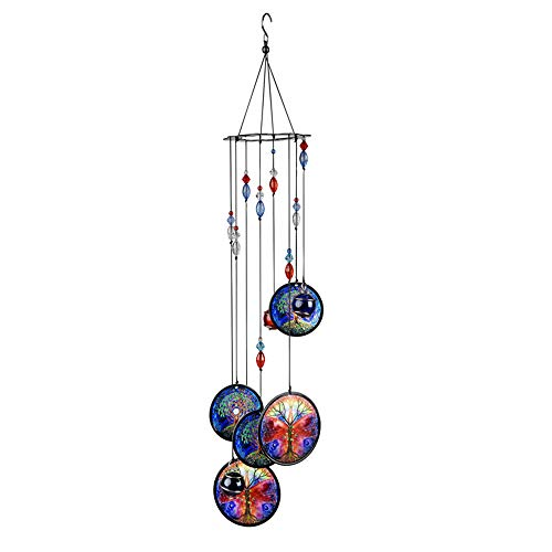 Wistwoxxon Wind Chimes Outdoor,Tree of Life Sympathy Wind Chime with Aluminum Tuned Soothing Musical Bell Sounds, Metal Wind Chimes Perfect Decoration for Patio, Balcony,Garden(Tree of Life)