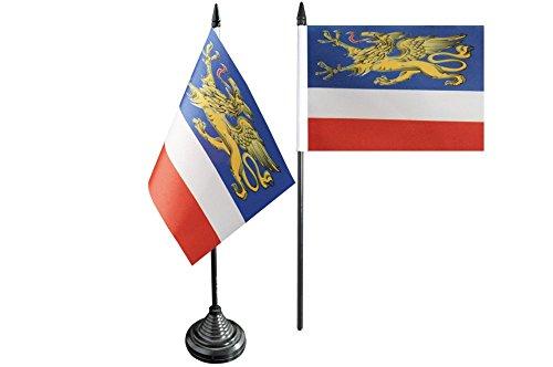 Tischflagge / Tischfahne Deutschland Stadt Rostock + gratis Aufkleber, Flaggenfritze®