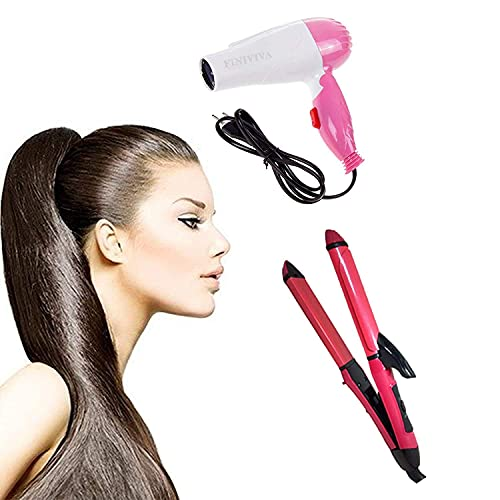 RKETOX 2-in-1 Ceramic Plate Essential Combo Beauty Set of Hair Straightener and Curler With 2 in 1 Combo of Hair Straightener-Curler and Hair Dryer for Women