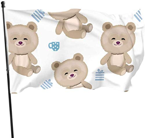 PEIYUH Flags,Funnycartoon Teddy Bears Party Decorations Flags Decorative Flag Durable Polyester Banner,for Indoors Outdoors Decor Flags 3 X 5 Ft