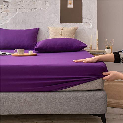 FJMLAY Sábanas ajustablesperfecto para el colchón, sensación Suave,Sábanas Bajeras de Algodón de Color Puro, Protector Antideslizante para Alfombrilla para Dormitorio Apartment-Purple_120cmx200cm