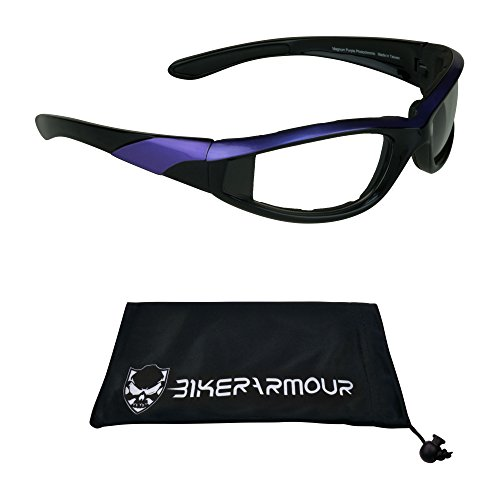 Bikershades Motorcycle Night Glasses Safety Foam Padded Black with Purple Frame for Men and Women