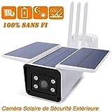 WiFi Caméra Solaire de Sécurité Extérieure, 100% sans Fil, Vidéo en Direct 1080P, Vision Nocturne, 10400mAh Batterie intégrée, Alertes de Mouvement, Pas de Frais mensuels